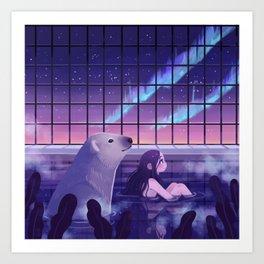 Bathing under Northern Lights Art Print