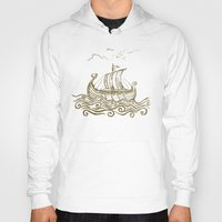 rowing Hoodies featuring Viking ship by mangulica