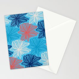 Blue flowers is talking Stationery Cards