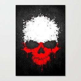 Flag of Poland on a Chaotic Splatter Skull Canvas Print