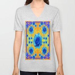 Art Nouveau Blue-golden Roses Abstract Design. Unisex V-Neck