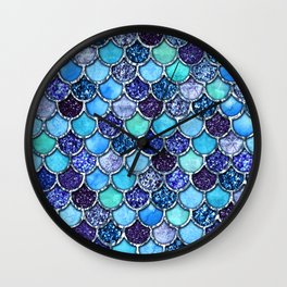 Colorful Teal & Blue Watercolor & Glitter Mermaid Scales Wall Clock