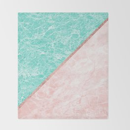 Turquoise teal pink rose gold geometrical marble Throw Blanket