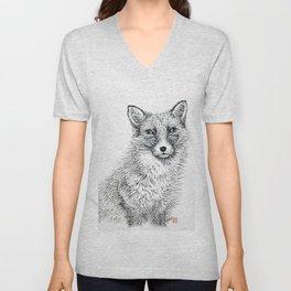 Fox staring Unisex V-Neck