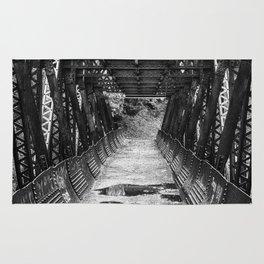 Tumwater Canoyn Pipeline Bridge Black and White Rug