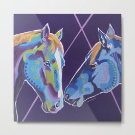 Contemporary Horses Kissing Metal Print