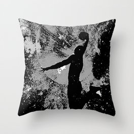 SLAM DUNK IN BLACK AND WHITE Throw Pillow