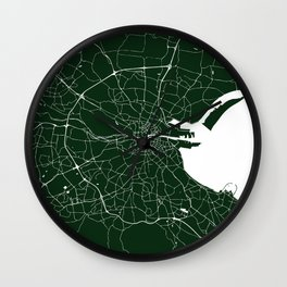 Dublin Ireland Green on White Street Map Wall Clock