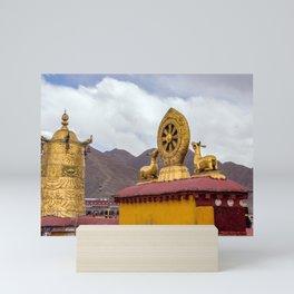 Rooftop Dharma wheel in Jokhang temple - Lhasa, Tibet Mini Art Print