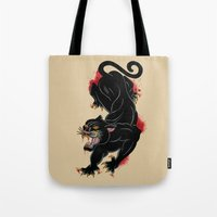 panther Tote Bags featuring PANTHER by Magdalena Sky - The Moth