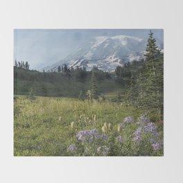 Wildflowers and Mount Rainier Throw Blanket