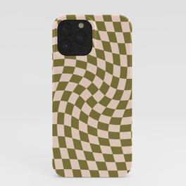 Check VI - Green Twist — Checkerboard Print iPhone Case