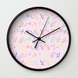 Crayon Flowers Drawing on Pastel Pink Wall Clock