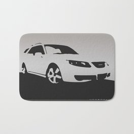 Saab 9-5 Aero, front view, gray on black Bath Mat