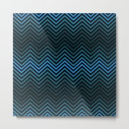 Blue And Black Zig Zag Abstract Design Metal Print