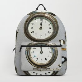 Retro clock faces on control panel Backpack