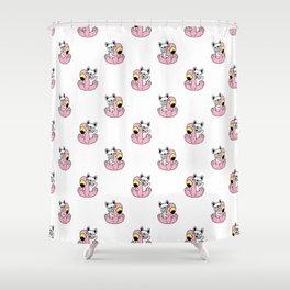 French Bulldog Flamingo Pattern Shower Curtain