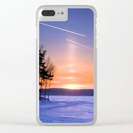 Сolumn of light and contrails Clear iPhone Case