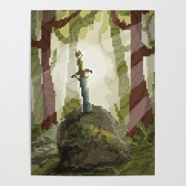 8-Bit Sword In The Stone Poster
