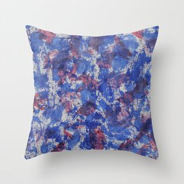 Blue and Red Watercolor on White Background Throw Pillow
