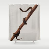 snake Shower Curtains featuring snake by Bor Cvetko