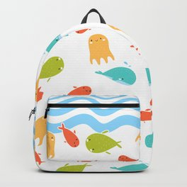 Cute Sea Life, Colorful Fishes and Waves Design Pattern, Cute Kids Art Backpack