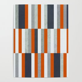 Orange, Navy Blue, Gray / Grey Stripes, Abstract Nautical Maritime Design by Poster