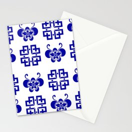 Butterfly Lattice Quilt Blue and White Stationery Cards