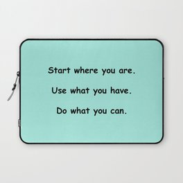 Start where you are - Arthur Ashe - mint green print Laptop Sleeve