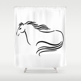 Swift Mare Stylized Inking Shower Curtain