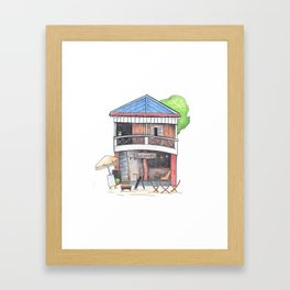 Tropical island restaurant front view travel sketch from Koh Rong island Framed Art Print