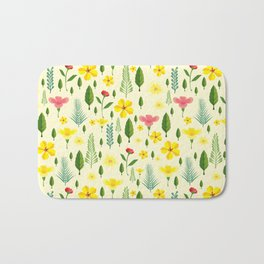 Tropical sunshine yellow pink green floral pattern Bath Mat