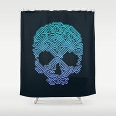 Labyrinthine Skull - Neon Shower Curtain