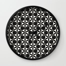 Flower of Life Pattern black-white Wall Clock