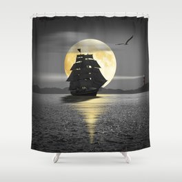 A ship with black sails Shower Curtain