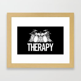 Drummers Therapy Drum Set Cartoon Illustration Framed Art Print
