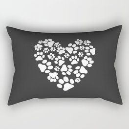 Dog Paw Prints Heart Rectangular Pillow