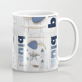 Blue collected items maritime collage Coffee Mug