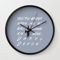 beth hoeckel Wall Clocks featuring Daryl Dixon and Beth Greene by Rebeca Rodríguez