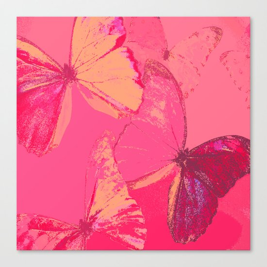 Butterflies in red shades Canvas Print