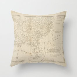 A map of the states of Virginia, North Carolina, South Carolina and Georgia, comprehending the Spanish provinces of East and West Florida, exhibiting  Throw Pillow