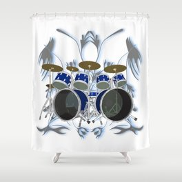 Drum Kit with Tribal Graphics Shower Curtain
