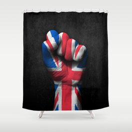 Union Jack Flag of The United Kingdom on a Raised Clenched Fist Shower Curtain