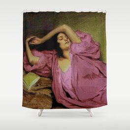 "Classical masterpiece ""Woman Stretching on Couch"" by Emile Victor Prouvé Shower Curtain"