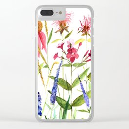 Botanical Colorful Flower Wildflower Watercolor Illustration Clear iPhone Case