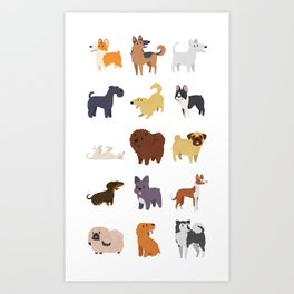 A Variety of Dog Breeds Art Print
