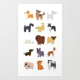 A Variety of Dog Breeds Art Print