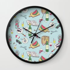 messy picnic Wall Clock