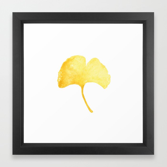 Watercolor Autumn Ginkgo Leaf Framed Art Print by foxtailpinestudio ...