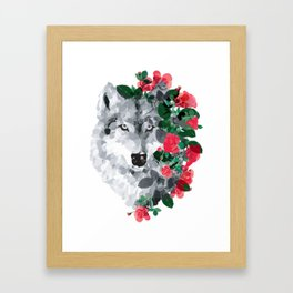 Wolf with the roses Framed Art Print